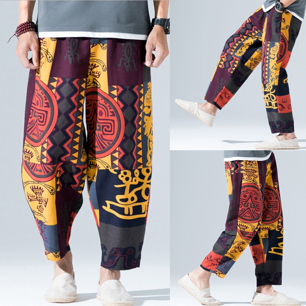 Mens Print Pants Cotton Linen Loose Pockets Trousers Retro Pants