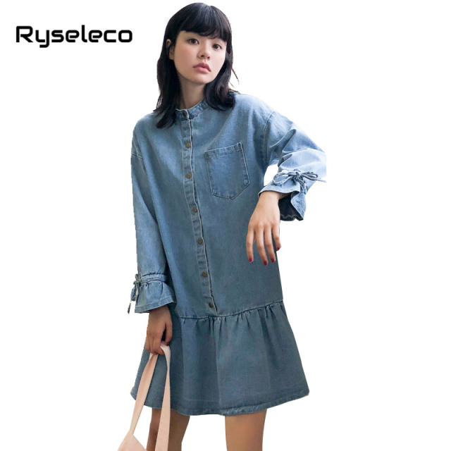 e261c0792c4 New Women Autumn Winter Long Flare Sleeve Lace Up Ties Denim Dresses  Vintage Dropped Loose Casual Jeans Mermaid Ruffles Vestidos