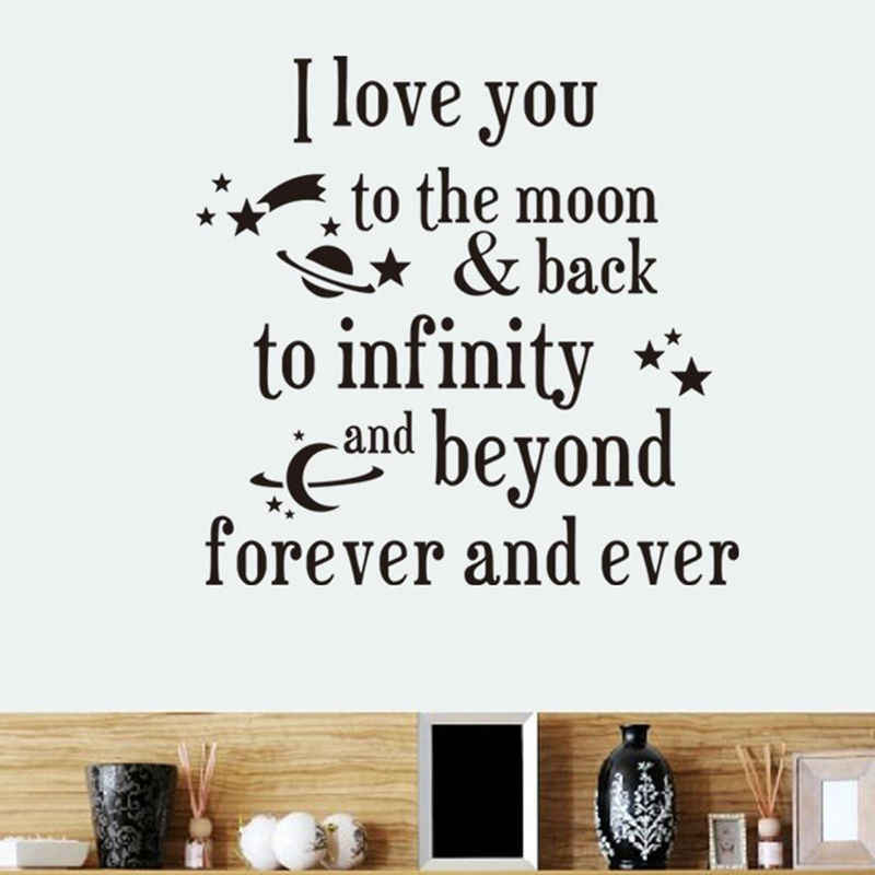I Love You To The Moon And Back Planets Wall Stickers Diy Removable Art Home Decor Letters Decal