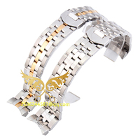 Top Quality 20mm 21mm Silver&Silver with Gold Stainless Steel Bracelet Strap Watch Replacement Band Free shipping