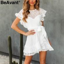 7764b452193 BeAvant elegante vestido de encaje blanco vestido de las mujeres 2019  volantes verano corto vestidos de fiesta alta cintura faja.