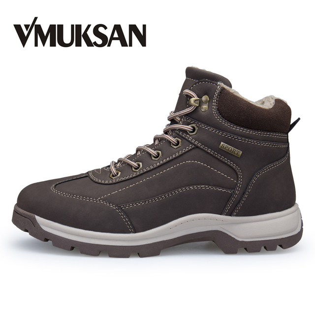 VMUKSAN Winter Motorcycle Men Boots Big Size 40-46 Fashion Classic Mens Shoes Casual 2018 Plush Warm Ankle Mens Miliitary Boots