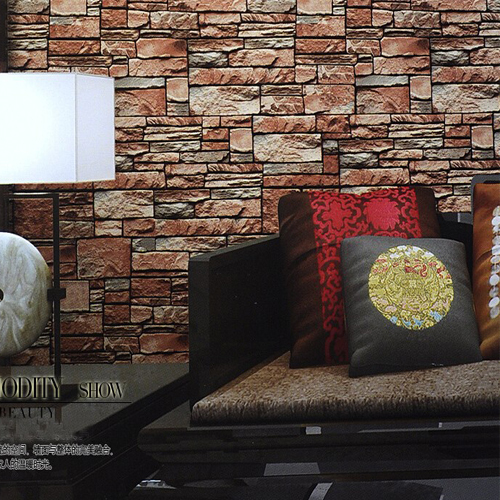 Stone Brick Wall Paper Red PVC Wood Wallpapers Vintage Chinese Style Redbrick Home Decor papel de parede para sala de estar boston ivy 3d brick wallpapers roll stone wall paper vinyl vintage wallpaper for walls papel de parede para 3d stone wallpapers