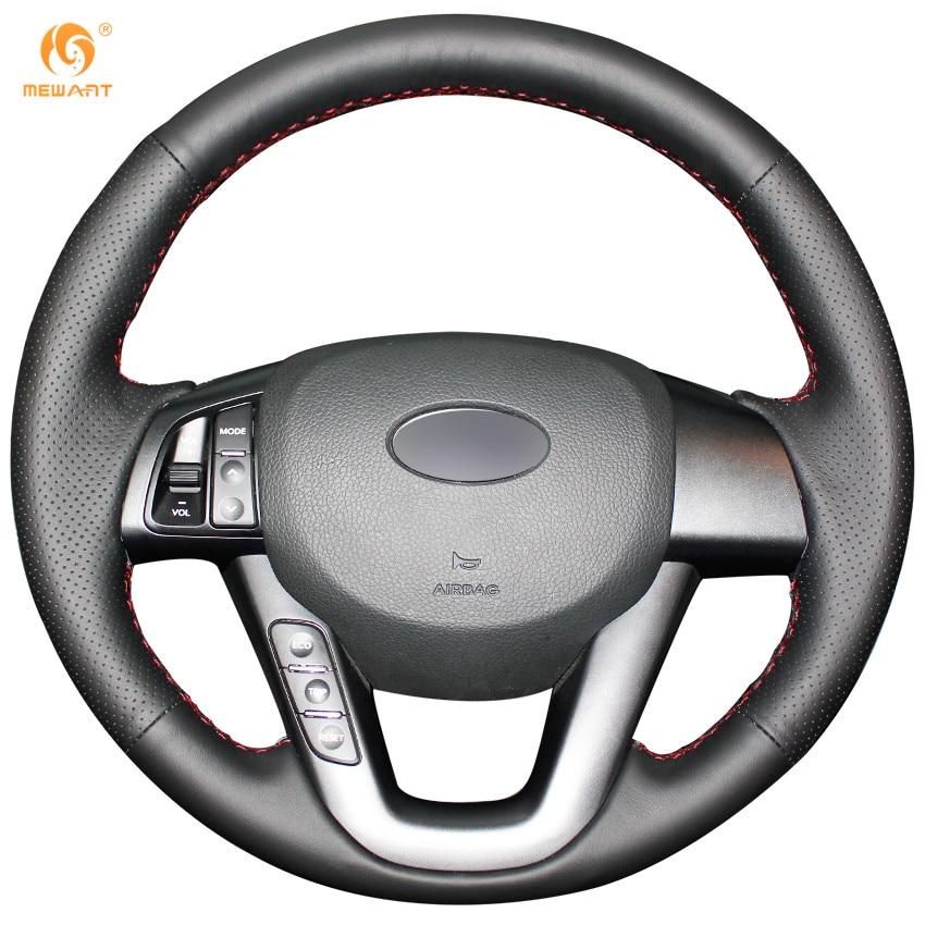 MEWANT Black Genuine Leather Car Steering Wheel Cover for Kia K5 2011 2012 2013 Kia Optima runba ice silk steering wheel cover sets with red thread