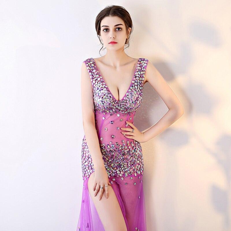 Fashion Night Club Sexy Deep V Neck Backless High Slit Dress Women Diamonds Slim Fit Crystal Role Play Party Mermaid Maxi Dress