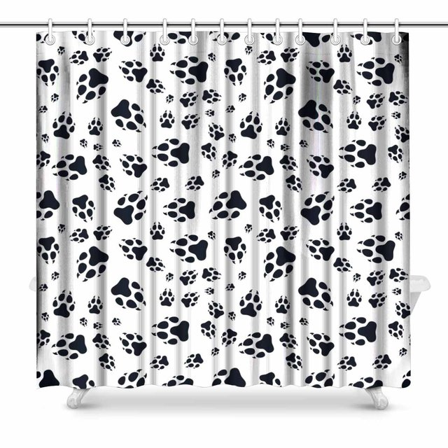 Aplysia Paw Print Cat Footprint Polyester Fabric Bathroom Shower Curtain Set With Hooks 72 X Inches