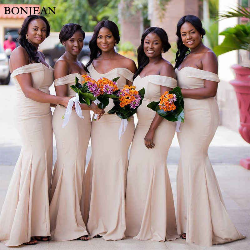 Cheap Mermaid   Bridesmaid     Dresses   Floor Length Off Shoulder Plus Size Maid of Honor Event Party Gowns Custom Made
