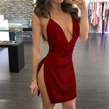 Fashsiualy Fashion Womens Sexy Deep V-Neck Halter Backless Slit Backless Scallop Trim Mini Party Club Dress Vestidos Drop Ship(China)