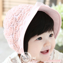 2016 New Baby Hat Flower Rose Kids Bucket Hats Soft Net Yarn Lace Sun Hat Summer Spring Palace Caps Girls Visors for Princess