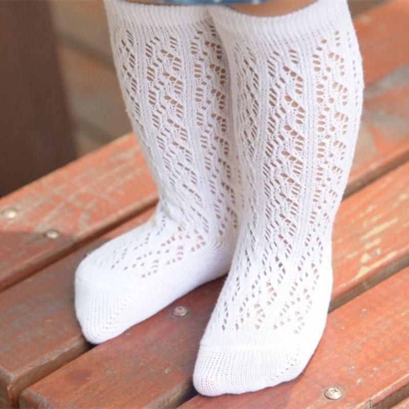 New 0-4Years Cute Baby Boys Girls Cotton Mesh Breathable Soft Socks Newborn Infant Non-slip Long Socks Kids Knee High Socks