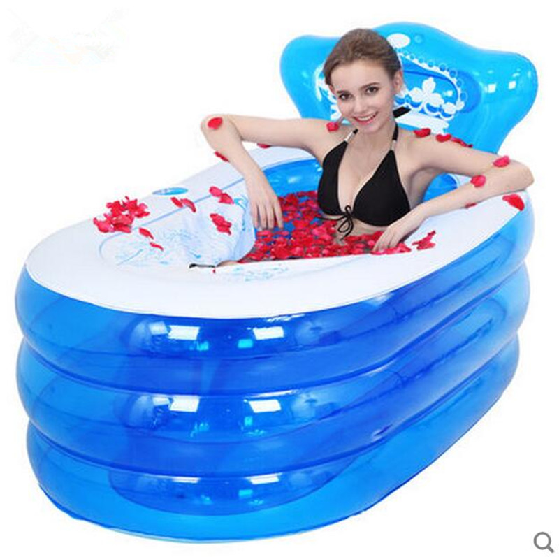 Inflatable bathtub thickening adult bathtub folding tub child bath basin bath bucket plastic bath bucket