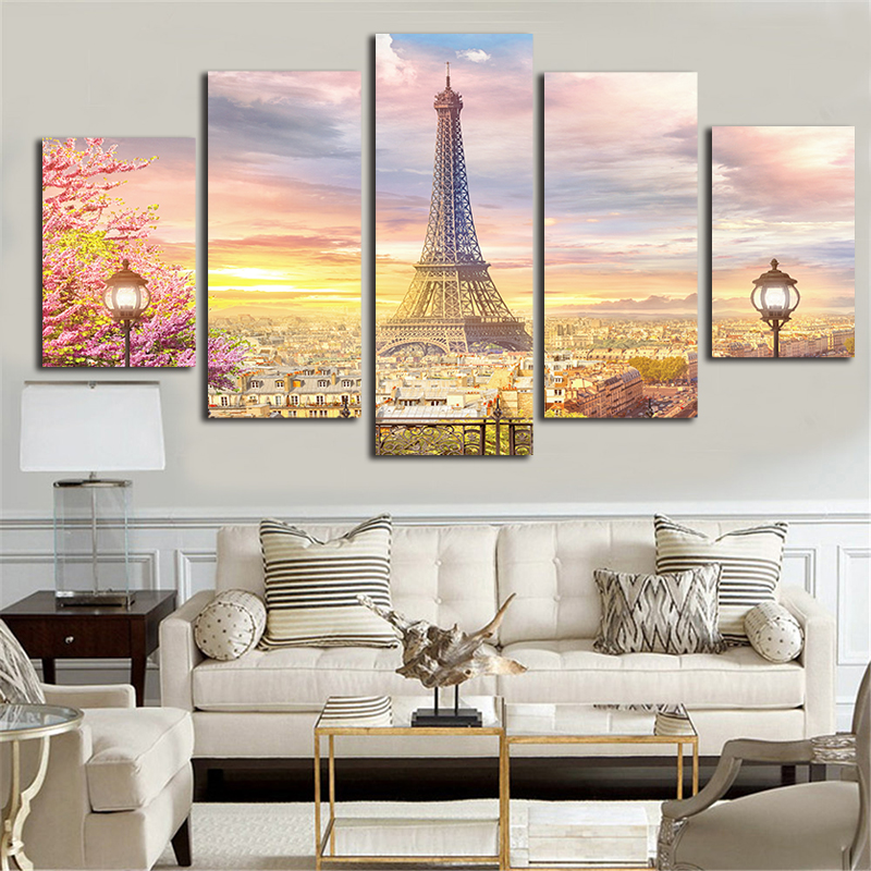 5 pcs the eiffel tower wall pictures for living room for Comprar cuadros online decoracion