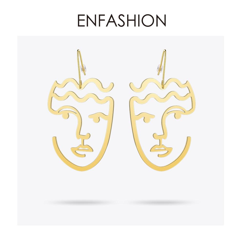 Sonderpreis für größter Rabatt begrenzter Stil US $10.24 20% OFF|Enfashion Klassische Gesicht Ohrringe Gold farbe  Silhouette Baumeln Ohrringe Großen Tropfen Ohrringe Für Frauen Lange  Ohrring ...