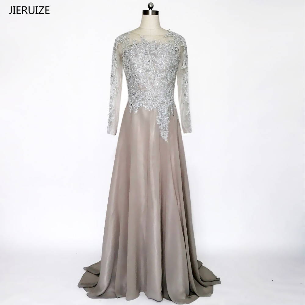 JIERUIZE Grå Chiffon Lange Ermer Kjole A-Line Lace Appliques Beaded - Spesielle anledninger kjoler - Bilde 1