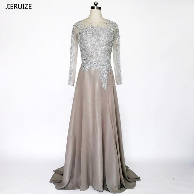 de305b900e JIERUIZE szary szyfonowa długie rękawy suknie wieczorowe-line koronkowe  aplikacje zroszony formalne sukienki sukienki dla