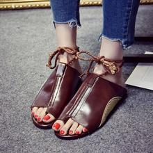 a17e7bf1eae9a mokingtop womens sandals flat summer Vintage Women Flat-Bottomed Roman  Sandals Round Toe Ankle Straps