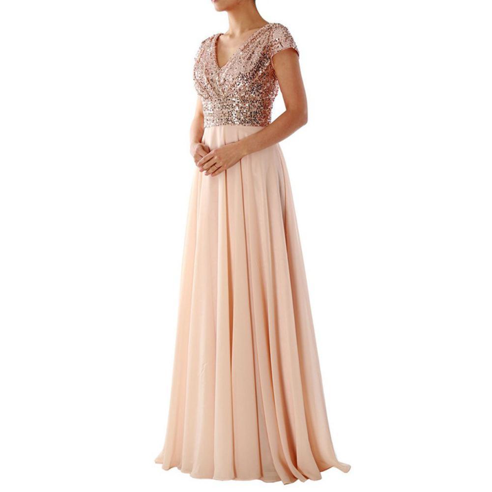 Women's Dress 2019 Summer Elegant Women Sequins V Neck Short Sleeve Maxi Dress Wedding Gown