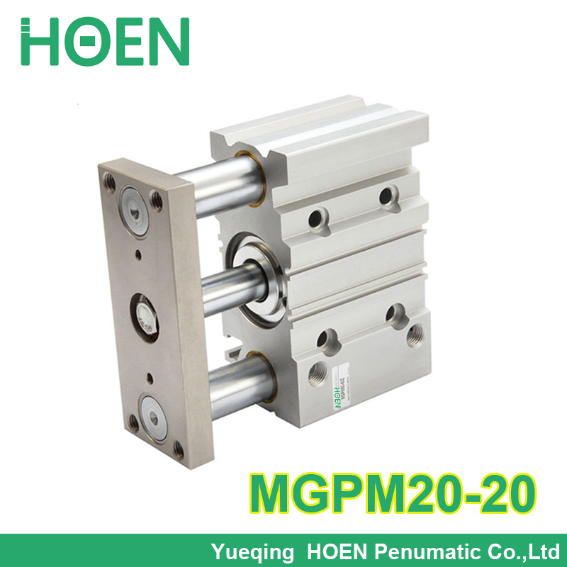 MGPM20-20 20mm bore 20mm stroke guided cylinder,compact guide three rod double action pneumatic cylinder tcm20-20