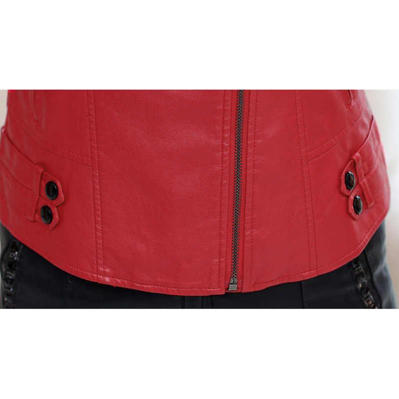 Бутик 2019 весна и осень кожаная женская короткая тонкая мода талия была тонкая Плюс Размер мотоциклетная куртка пальто Женская ODFVEBX