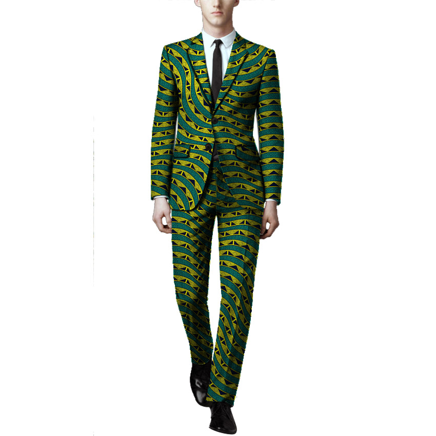 African Clothes Men's Suits Man Dashiki Print Pant Suits For Wedding Custom Made Africa Traditional Clothing