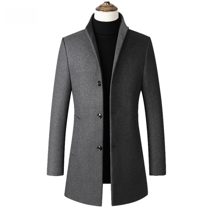 2019 New Mens wool coat men Double breasted Mens Overcoat Long Sleeve Men Coat Winter Slim Solid Male Trench Coat in Wool amp Blends from Men 39 s Clothing