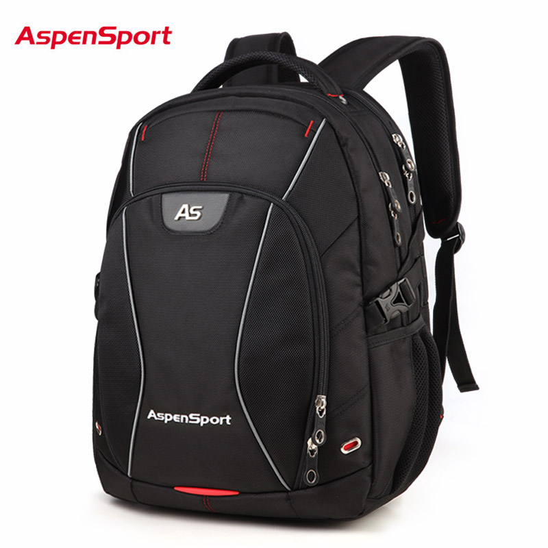 2018 Aspensport Men 15.6 Inch Laptop Backpack High Quality School Bags For Student Large Capacity Travel Bag Black Backpacks 2017 new masked rider laptop backpack bags cosplay animg kamen rider shoulders school student bag travel men and women backpacks