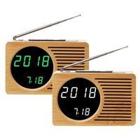 VODOOL 160*100*45mm FM Radio Wood Grain Bamboo LED LCD Display Home Desktop Screen Display antenna teleskope radio fm