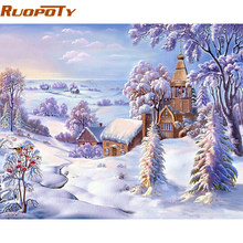 RUOPOTY Frame Picture Village Snow DIY Painting By Numbers Mdoern Wall Art Landscape Paint By Numbers Unique Gift For Home Arts(China)