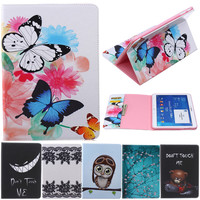 Butterfly Owl Cartoon PU Leather Flip Stand Cover Cases For Samsung Galaxy Tab 4 10 1