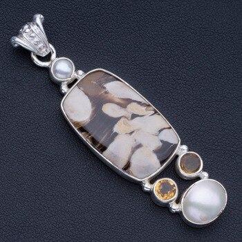 "Natural Penut Wood Jasper,Citrine and River Pearl 925 Sterling Silver Pendant 2 1/4"" P0990"