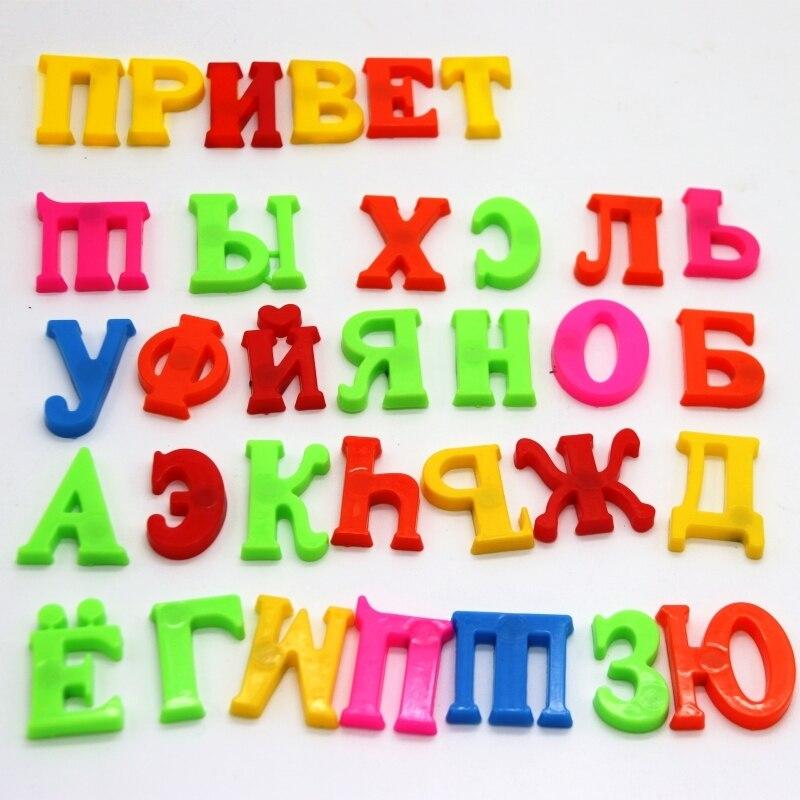 33pcs Russian Alphabet Fridge Magnets Plastic Toys Child Letter Learning Class Education Toy