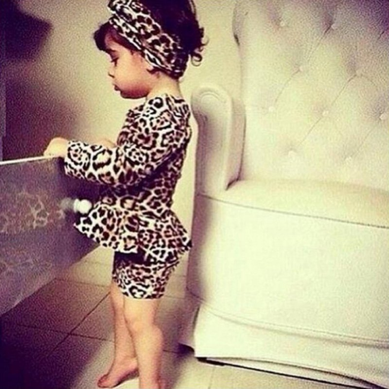 Cute Baby Kids Girls Leopard Print Mini Dress Long Sleeve Party Clothes Princess Vestido 3-10Y