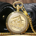 Golden Luxury Vintage Retro Train Locomotive Engine Design Mechanical Hand Wind Pocket Watch Double Hunter Men Women Gift P1036C