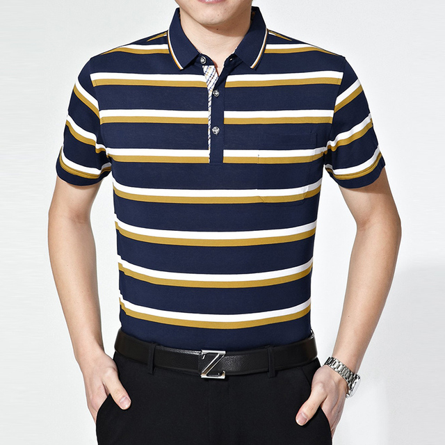 2016 Summer top quality multi color striped men busines casual cotton polo shirt
