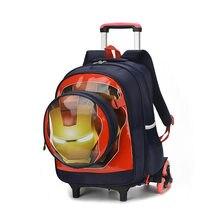 f4ec5cb15c Spider man studenti sacchetto di scuola di Salire le scale dei bagagli del  fumetto valigia di rotolamento Iron Man Bambini zaino.
