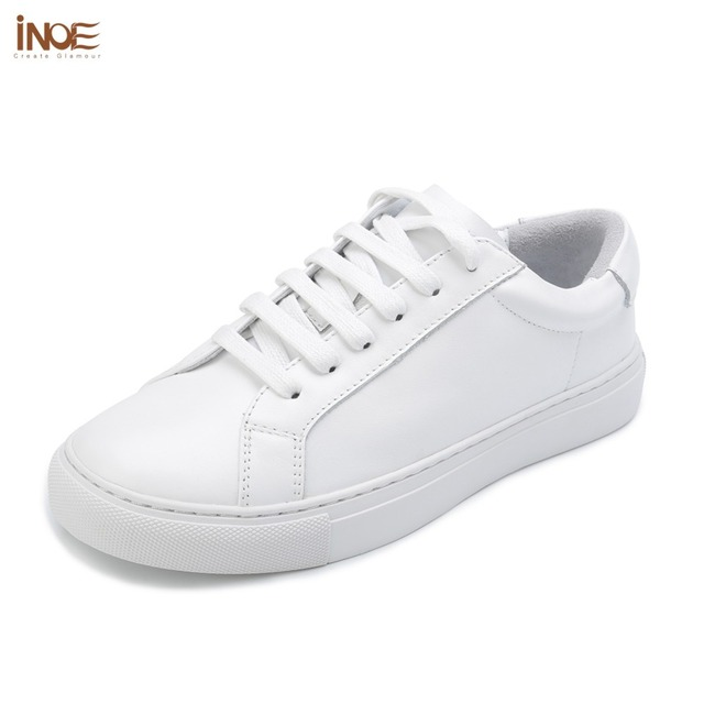 INOE fashion style women spring casual sneakers leisure shoes flats real  genuine cow leather women autumn loafers shoes white 79e57ca95b39