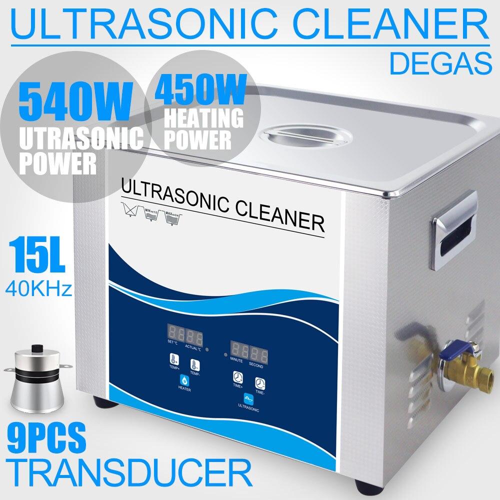 Khz 40 15L Banho de Limpeza Ultra-sônica 540 w 110 v/220 v Aquecedor de Laboratório Instrumentos Ópticos Degas Parafusos Porca ferramenta Dental Rolamentos Hardware
