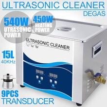Nettoyeur à ultrasons, 15l, 540W, 40KHZ, 110V/220V, Degas chauffants, Instruments optiques, vis écrou, outil dentaire, roulements
