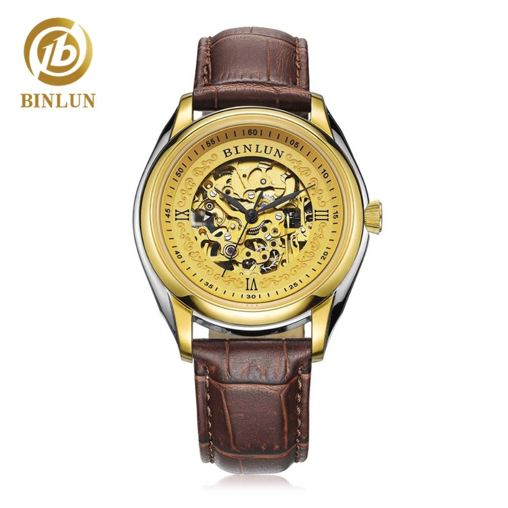 BINLUN Gold Skeleton Dial Design Men Automatic Watch 18K Gold Luxury Genuine Leather Strap Openwork Dial Men's Watch Waterproof цена в Москве и Питере