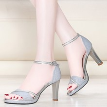 New Women Ankle Strap Bling Metal Decoration Shoes Woman Open Toe Thin Heels Women's Buckle Pumps High Heels YG-A0191 стоимость