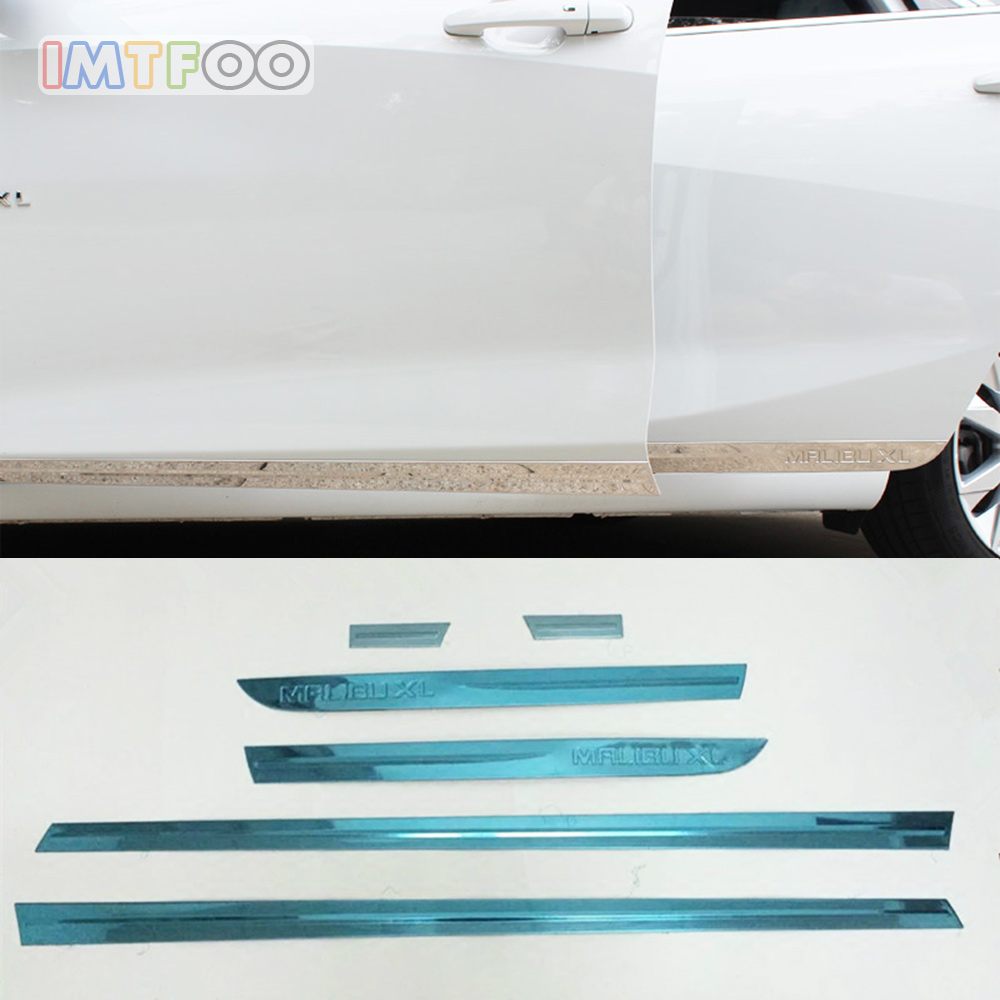 IMTFOO STAINLESS STEEL SIDE DOOR BODY MOLDINGS STICKERS FOR CHEVROLET MALIBU XL 2016 2017 2018 ACCESSORIES