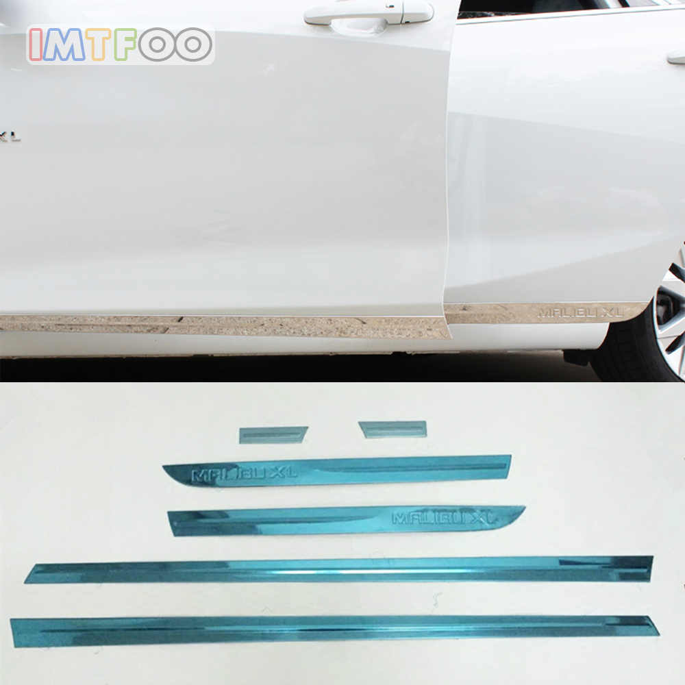 IMTFOO STAINLESS STEEL SIDE DOOR BODY MOLDINGS STICKERS FOR CHEVROLET MALIBU XL 2016 2017 2018 ACCESSORIES CAR STYLING