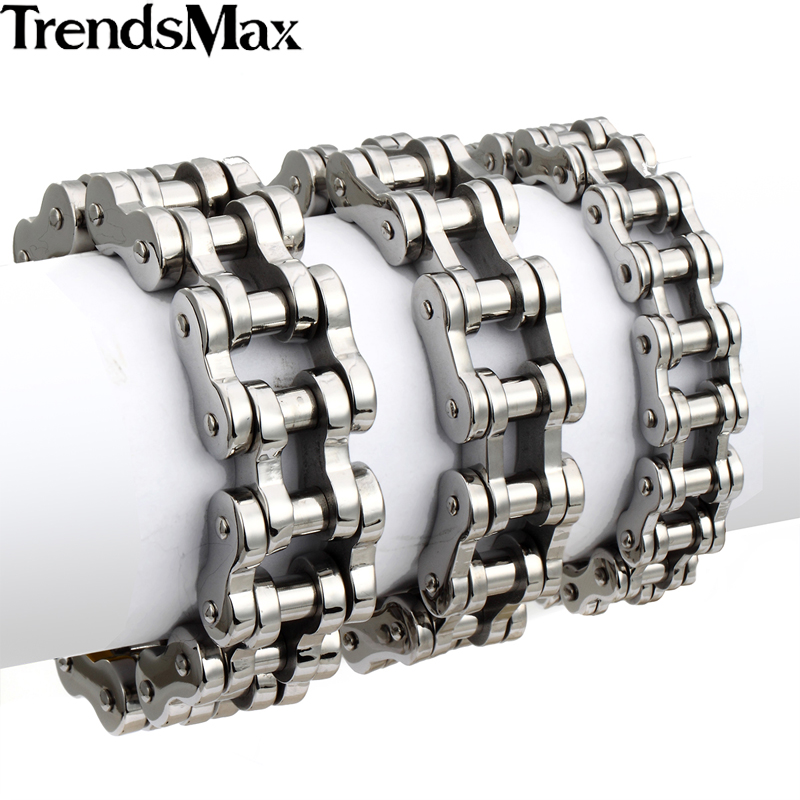 Trendsmax Bracelet For Men 316L Stainless Steel Silver Black Biker Bicycle Link Bracelet Hiphop Men Jewelry 14/19/23mm HBM13 shiying sl000088 fashion bible style 316l stainless steel bracelet for men black