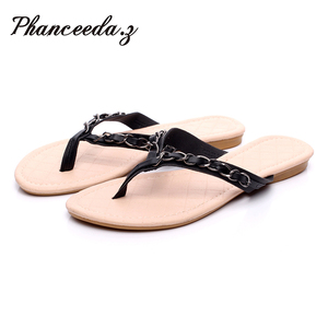 Image 1 - New 2018 Summer Style Flip Flops  Zapatos Mujer Fashion Beach Flat Shoes Woman Sandals Chain Slippers Size 5 9 Free shipping