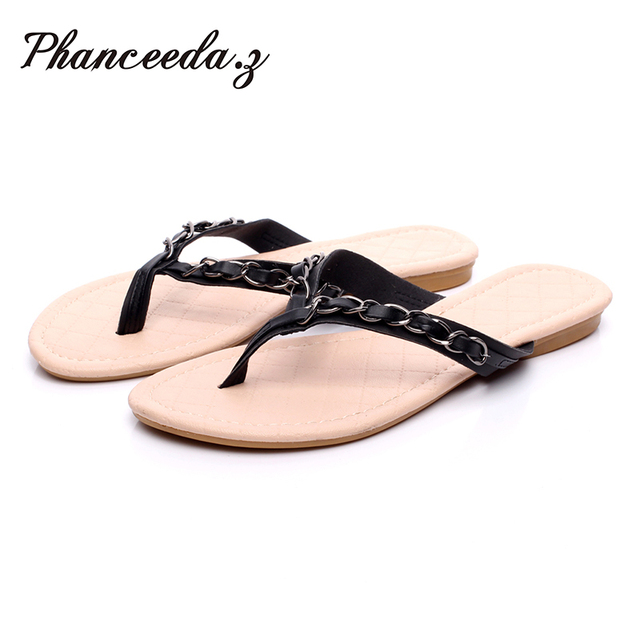 New 2018 Summer Style Flip Flops  Zapatos Mujer Fashion Beach Flat Shoes Woman Sandals Chain Slippers Size 5 9 Free shipping