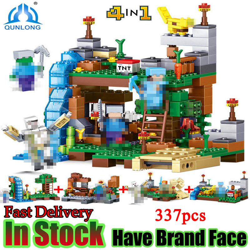 Qunlong Minecraft Figures Building Blocks Bricks 4 in 1 My World Garden Educational Compatible LELE font