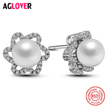 925 Sterling Silver Flowers Earrings Women Natural Freshwater Pearl Stud Earrings 100% Silver Fashion Charm Jewelry