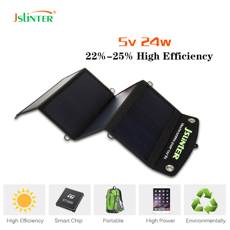 2017 Jslinter 24w 5v Portable Solar Panel Battery Charger Cells Dual Usb Outputs 2.4a Fast Charging Power Bank Mobile Phone portable outdoor 18v 30w portable smart solar power panel car rv boat battery bank charger universal w clip outdoor tool camping