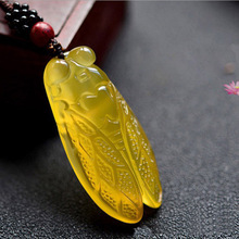 Natural Chalcedony Cicada Pendant Necklace Drop Shipping Hand-carved Lucky Amulet Lovers Necklace For Men And Women natural chalcedony spider a foot pendant necklace drop shipping hand carved lucky amulet lovers necklace for men and women