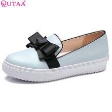 QUTAA 2017 Mujeres Bombea Zapatos de Las Señoras Wedge de Tacón Bajo de cuero de LA PU Slip On Pajarita Del Dedo Del Pie Redondo Blanco Mujer Zapatos de Boda del Tamaño 34-43